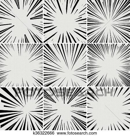 Comic Book Superhero Pop Art Style Black And White Radial Lines Background Manga Or Anime Speed Frame Big Collection Of Explosion