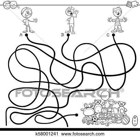 Maze With Kids And Toys Coloring Book Clipart