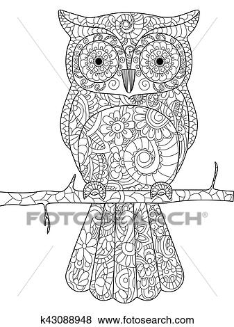 Clip Art Of Owl On A Branch Coloring Book Vector For Adults