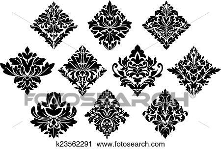 Clipart Of Black And White Damask Arabesque Elements K23562291