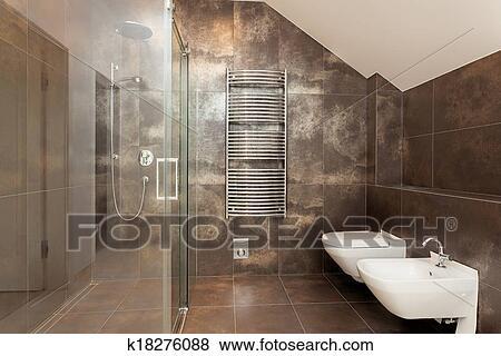 Beelden - bruine, badkamer, binnenste k18276088 - Zoek Stock Foto\'s ...