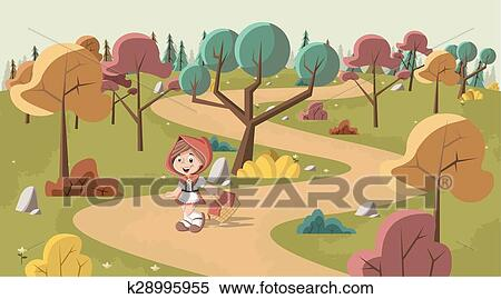 Clipart carino cartone animato cappuccetto rosso k