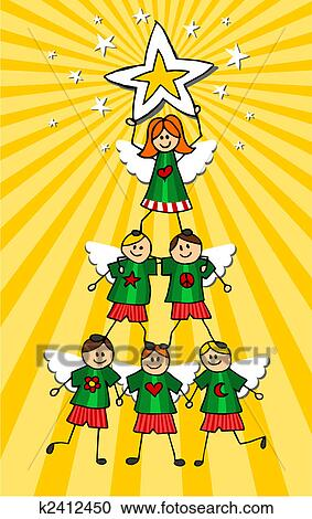 Children Christmas Tree Over Yellow Background Clipart K2412450