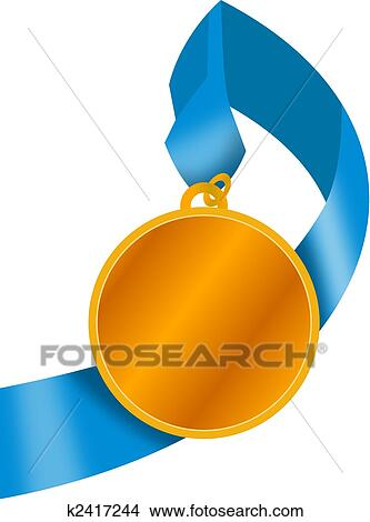 Gold medal with ribbon Stock Illustration