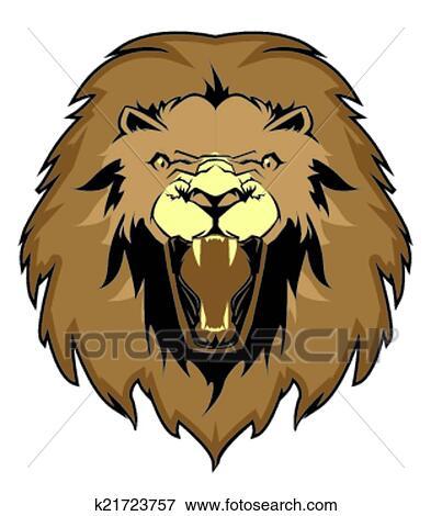 clip art of lion face vector k21723757 search clipart rh fotosearch com Lion Face Clip Art Black and White cartoon lion face clipart