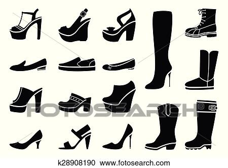 c05078c8 Ilustración Zapatos Set Mujer Y Tacón Iconos Vector Bota Moda Amd Calzado  7qvZOTPwv