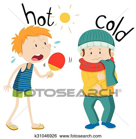Clip Art Of Opposite Adjectives Hot And Cold K31046926