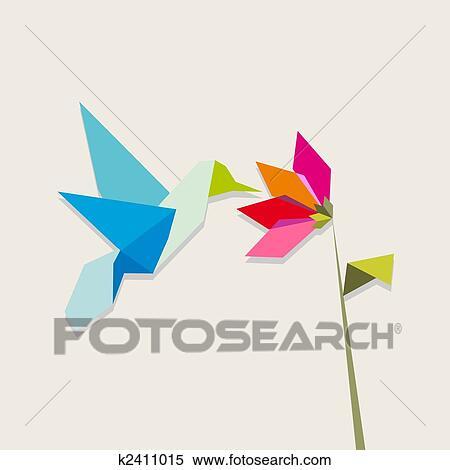 Clipart Origami Colibri Et Fleur Blanc K2411015 Recherchez