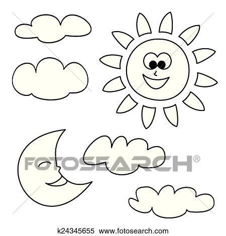 Clipart - sol, luna, y, nubes, tiempo, vector k24345655 - Buscar ...