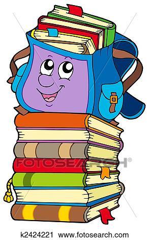 جذاب حقيبة مدرسية عن الكومة الكتب Clip Art K2424221 Fotosearch
