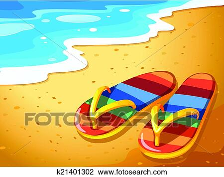 Clipart A Pair Of Sandals At The Beach Fotosearch Search Clip Art