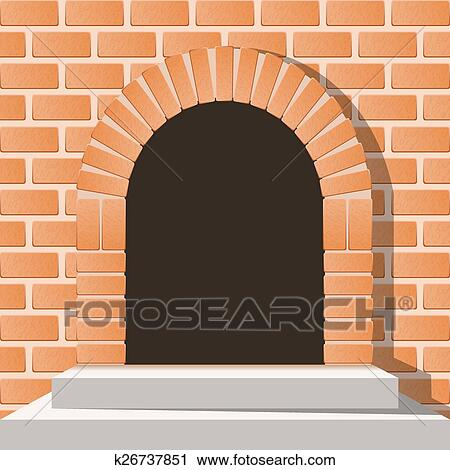 Arched medieval door in a brick wall with stairs & Clipart of Arched medieval door in a brick wall with stairs ...