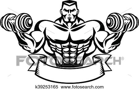 Clipart Of Bodybuilder T Shirt Design K39253165