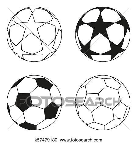 Flache Schwarz Weiss Fussball Ball Stern Set Clipart