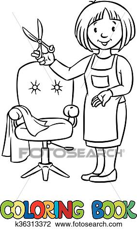 Funny hairdresser. Coloring book. Clipart | k36313372 ...