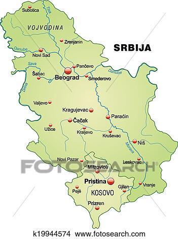 Landkarte Von Serbien Clipart K19944574 Fotosearch