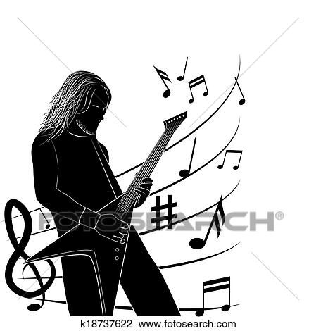 Clipart Of Man Playing Guitar Silhouette K18737622 Search Clip Art