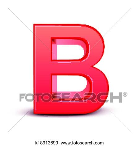 Clip Art Of Red Letter B K18913699 Search Clipart Illustration