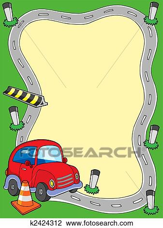 Clip Art of Road frame with small car k2424312 - Search Clipart ...