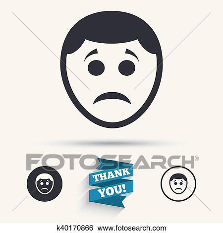 Clip Art Of Sad Face Sign Icon Sadness Symbol K40170866 Search