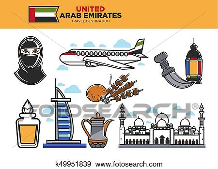 Clip Art Of United Arab Emirates Travel Destination Poster With