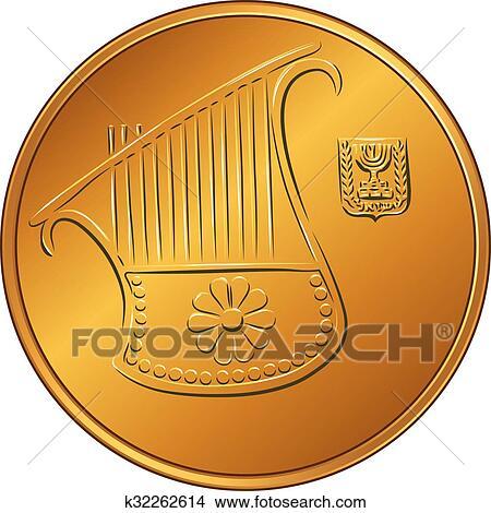 Clipart Of Vector Gold Israeli Money Half Shekel Coin K32262614