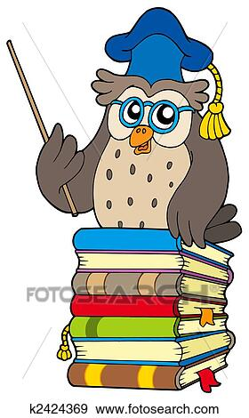 Stock Illustration Of Wise Owl Teacher On Books K2424369