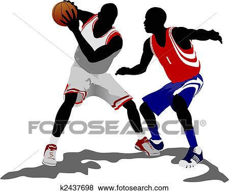 clip art of basketball players vector illustration k2437698 rh fotosearch com basketball players clip art no head basketball player clipart free