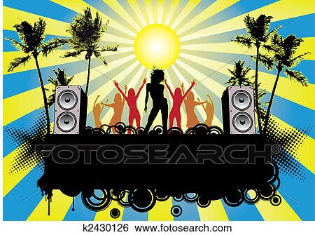 clip art of beach party flyer ibiza k2430126 search clipart rh fotosearch com beach party clip art free beach birthday party clip art