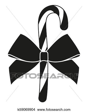 Black and White Candy Cane - Free Clip Art