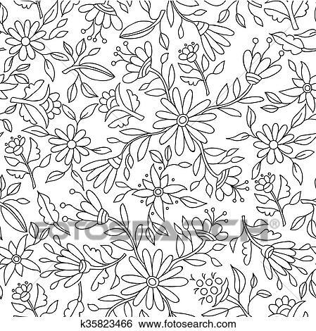Blume Hintergrund In Schwarz Weiß Für Färbung Clip Art