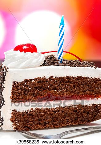 Chocolate Birthday Cake Represents Celebrate Slice And Desserts Stock Photography