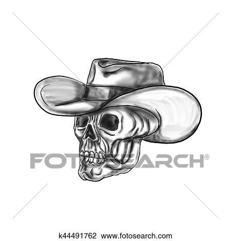 Clip Art Of Cowboy Skull Tattoo K44491762 Search Clipart