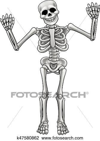 Clipart dessin anim squelette tenant k47580862 - Dessin de squelette ...