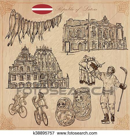 Latvia Freehand Vectors Hand Drawn Collection Line Art Clip Art