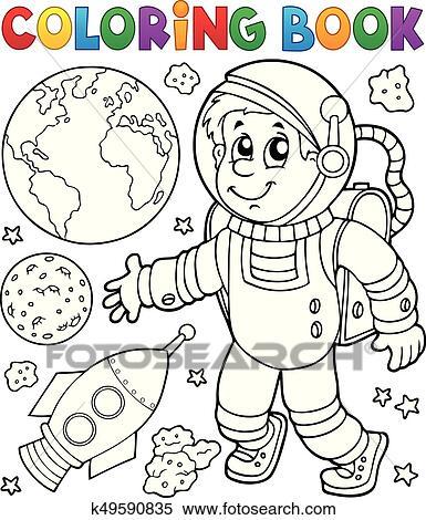 Clipart - libro colorear, astronauta, tema, 1 k49590835 - Buscar ...