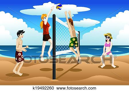 clipart of people playing beach volleyball k19492260 search clip rh fotosearch com sand volleyball clipart free Beach Cornhole