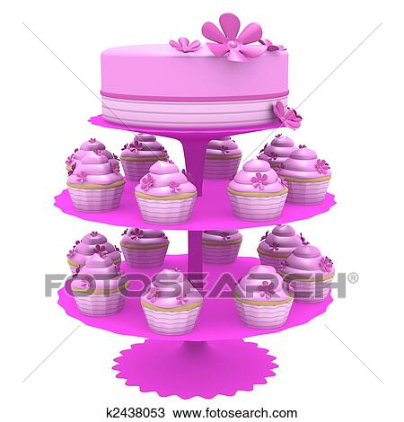 Drawing Of Pink Cake And Cupcakes On Stand 3d Computer Generated