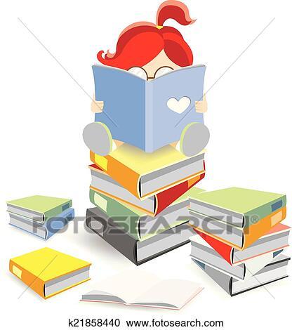 Rat Bibliotheque Seance Sur A Pile De Livre Clipart