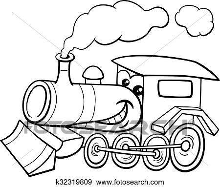 Clip Art Of Steam Engine Cartoon Coloring Page K32319809