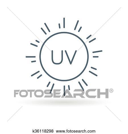 bcfd5958c940db Uv, icon., zon ray, teken., ultra viooltje, sunrays, bescherming, symbool.,  dune lijn, pictogram, op wit, achtergrond., vector, illustration.
