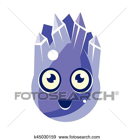 clip art of blue crystal ice element egg shaped cute fantastic