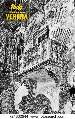 Clipart Dass Beruhmt Balkon Von Romeo Juliet K24332544 Suche