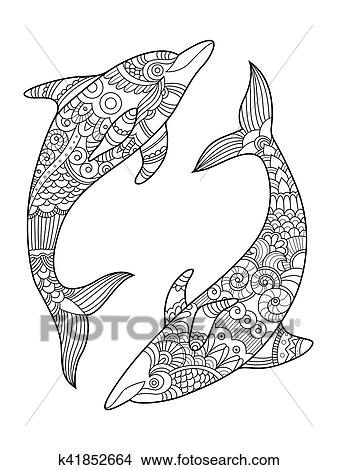 Dolphin coloring book for adults vector Clipart