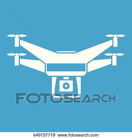 Drone Video Camera Icon White Clip Art