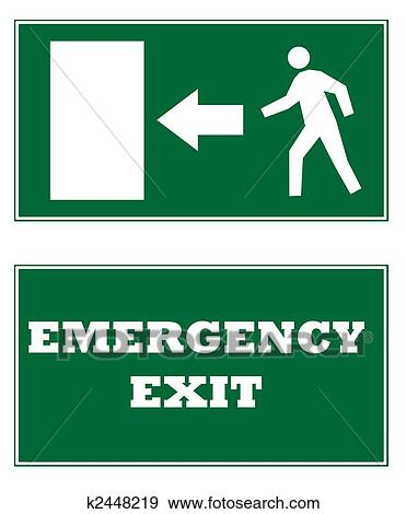 stock illustration of emergency exit signs k2448219 search vector
