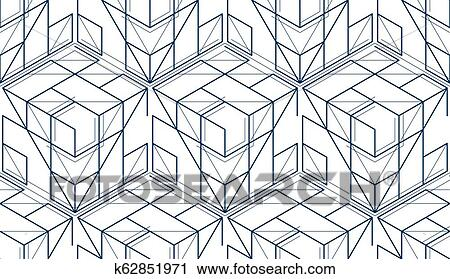 Geometric Cubes Abstract Seamless Pattern 3d Vector