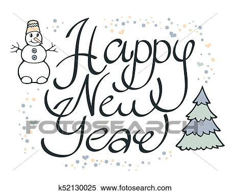 clipart modern funny calligraphic lettering happy new year hand color drawing ornament letters with