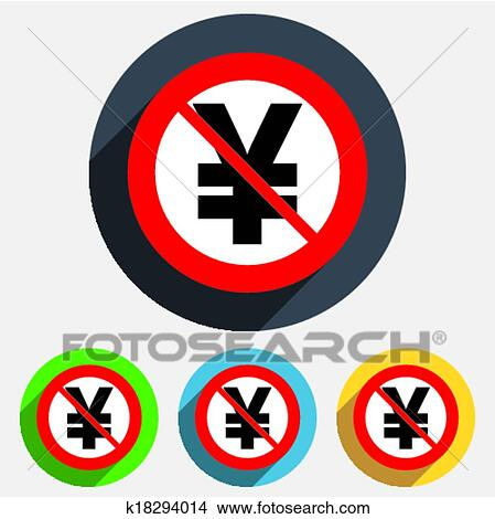 Clipart Of No Yen Sign Icon Jpy Currency Symbol K18294014 Search