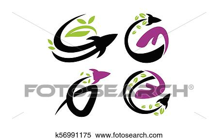 Rocket Leaf Hand Template Set Clipart